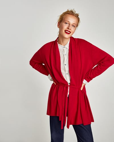 drapped neck cardigan
